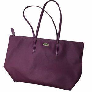 LACOSTE Purple Leather Zipper Shopper Tote